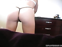 Nice sexy bum of amateur girl is flashed on installed camera