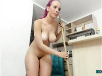 Purple Hair Woman And Her Dildo