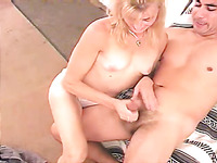 Perverted blond haired wife of my neighbor wanna wank his strong cock