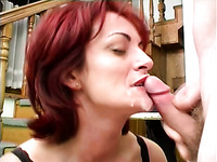 Really wild red haired mature whore gets fucked near the stairway