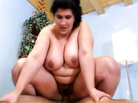Giant breasted dark haired whore is happy to ride strong cock on top