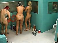 Shower time with three chubby Norwegian girls - hidden cam