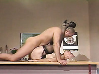Chubby mature secretary gets her old cunt fucked mish on the table