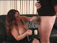 Chunky long haired bitch stands on knees during handjob workout