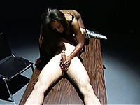 Slender real slut in black lingerie gives a good blowjob in 69 pose