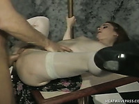 Before being poked mish slutty pale nympho with small tits gives head