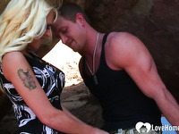 Busty blonde gets fucked at the beach
