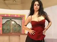 Fit and sexy brunette Indian girl is dancing on cam