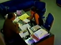 Hidden camera catches the boss seducing new employee for sex