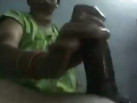 Trashy Indian hooker with big boobs is stroking hard dick until the client explodes huge cumshot