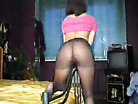 My brunette curvy wife looks hot in her black pantyhose