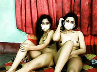 Lusty amateur cam Indian girls go lesbian to pet wet pussies