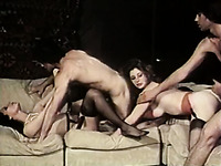Seductive brunette babes switch their BFs and fuck in a foursome