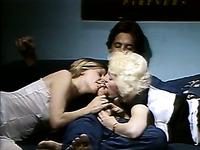 Luscious MILF serving a single guy in a steamy retro FFM threesome fuck scene