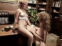 Hot like fire blond head lesbians have awesome flying 69 sex on table