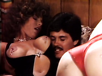 Vintage style swinger party with two hot chicks and two big guys