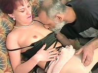 Old perverted jerk loved to please his new kinky girlfriend in his bedroom