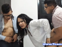 Busty TS Babe Fucked Hard on Standing Position