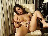 Horny and filthy brunette with nice tits masturbates