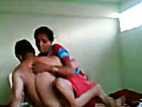 Sexy time with skinny Indian hooker in beautiful sari