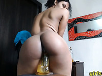horny latina girlfriend first time on webcam