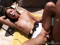 Petite amateur Latina drilled by a big cock outside