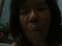 Mature Asian mommy is sucking her hubby's dick in amateur homemade sex video