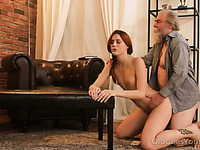 Svelte pretty redhead love the feel of an old cock in her fresh pussy