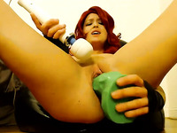 Sexy Redhead Wife Squirts Hard On Cam
