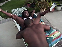 After good outdoor cunnilingus busty black hottie sucks strong BBC