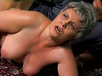 Grey haired mature emotional housewife is fucked from behind hard