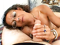 Nerdy curly amateur whore is so into jerking off stiff dick
