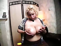 That blonde chick with huge natural tits feels shy