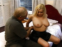 Old fart talks a big breasted MILF into having some naughty fun with him