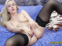 Amazing Blonde Performed Pussy Playing Live