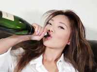 Asian Wet Champagne And Pantyhose Play