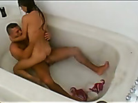 Sexy russian couple having a wild sex in a bathtub