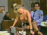 Skanky blonde chick fucks police officer in front of his assistant