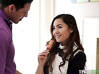 Naughty Asian college girl with cute ass is made for good doggy fuck