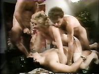 Crazy blond head slut has triple penetration at once