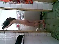 Skinny snow white Chinese housewife takes shower - private tape
