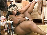 King sized SSBBW ebony chick masturbates in sexy lingerie