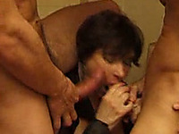 Two chubby old French prostitutes work on mine and my friend's cocks