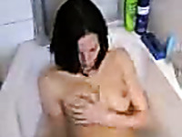 Dainty black haired wife takes bath and then gives blowjob