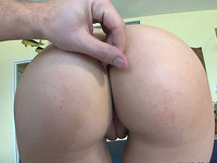 Brunette gets her sexy and round shaped ass banged hard by her friend