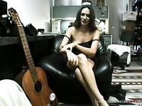 Skinny brunette slut loves to suck my cock