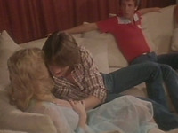 Two guys seduce young blondie and get her into hardcore MMF threesome