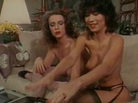 Vintage lesbian porn with two girlfriends in sexy stockings