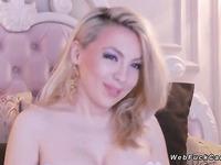 Busty petite blonde babe on webcam
