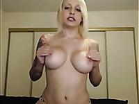 hot blonde babe teasing and masturbating